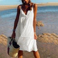 Womens Fashion Sleeveless Basic Pure Color Summer Dress Sweet Girls Button Spaghetti Straps Casual Loose Beach Mini Dress
