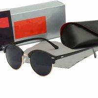 Высококачественный круглый стиль солнцезащитные очки сплава PU рама зеркальный стеклянный объектив для мужчин женщин двойной мост Ретро очки с пакетом 4246