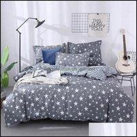 Bedding Textiles Home & Gardenbedding Sets Gypsophila Stars Printing 3 4Pcs Winter Set Duvet Er Bed Flat Sheet Pillowcase Bedroom Supplies D