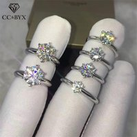 Wedding Rings 1.25ct Silver Ring For Women Cubic Zirconia Round Stone Engagement Bridal Jewelry Accessory Drop 633