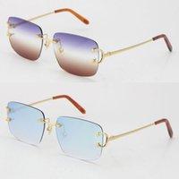 Vendi Rimless C decorazione delicata unisex moda occhiali da sole vintage lusso gatto occhio metallo bicchieri di guida designer uv400 lente forma quadrata faccia occhiali da vista