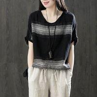 Fje New Llegada Verano Tshirt Thirt Post Size Flow Batwing Sleeve Tee Shirt Femme Algodón Rayas Vintage T Shirts Tops D12 210315