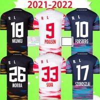 21 22 RB LEIPZIG Camisetas de fútbol SILVA OLMO NKUNKU POULSEN HAIDARA LAIMER ADAMS MORIBA BROBBEY 2021 2022 Camisetas de fútbol Adultos para hombre Kits en casa tercero