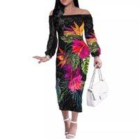 Casual Dresses HYCOOL Women Long Sleeve Off Shoulder Autumn Dress Set Elegant Wedding Guest Bodycon Polynesian