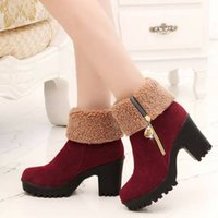 Plush short boots women's thick heels shoes in winter women wear high-heeled warm middle Martin