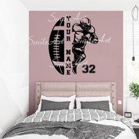 벽 스티커 드롭 사용자 지정 이름 축구 홈 장식 액세서리 거실 침실 아트 벽화