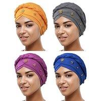 Beanies 1PC Fashion Milk Silk Women Turban Cap Twisted Faux Pearl Beaded Headscarf Muslim Braid Wrap Hat Headwrap Accessories