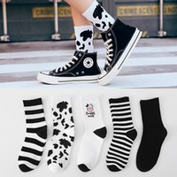 New Arrivals Cow Printed Sock Lovely Harajuku Japanese Style Cotton Women Socks Striped Solid Breathable Casual Cartoon Socks