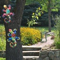2Pcs Metal Gecko Wall Decor Gecko Art Craft Sculptures Lizard For Outdoor Backyard Porch Lawn Fence Garden Wall Decoration Y0914