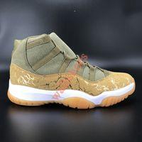 Jumpman 2020 Baixo Branco Criado 11 11s Men Tênis de Basquete Pináculo Cinza Ovo Cinza Snake Skin SE Metallic Gold Pantone Mens Sneakers Womens 28