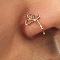 Designer Ringar Original Koppar Tråd Spiral Fake Piercing Näsa 2021 Punk Gold Sier Color Clip kan också vara öron manschett Bijoux