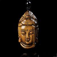 Желтый Тигр Глаз Камень Кулон Handcarved Гуаньюн Голова Подвеска для Lucky Buddha Подвеска Человек Амулет Свободная веревка
