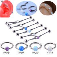 Yeni endüstriyel halter küpe çift kulak hol, opal stainls çelik köprüleme küpe, Aobao burun ve kulaklık halkaları