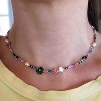 Mélange de perles naturelle à la main et assortir des fleurons perles colorées dames Collier court Collier de mode Accessoires de bijoux de mode Exquises cadeaux