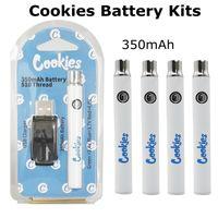 Pliki cookie Akumulator 350mAh Ładowarki USB Zestawy podgrzewania Vapes Pen indywidualny pakiet zmiennych napięcia VV Regulowane battryny