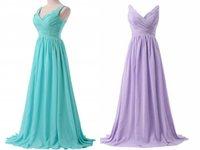 Bridesmaid Dress V-neck Spaghetti Straps Long Lace Up Purple Blue Dresses Wedding Party Prom 2021 Bride Ladies Fashion
