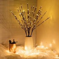 Söğüt Şube Lambası Akülü LED Simülasyon Ağacı Işık LED 20 Boncuk Vazo Kahve Çiçek Lamba Ağacı Şube Işık Tatil
