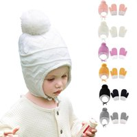 Caps & Hats Winter Warm Baby Solid Color Earflap Hat Gloves Set Fur Ball Beanies Mitten Kit For Toddler Knitted