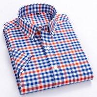 Camisa listrada ocasional masculina dos homens do macrosea Camisas de verão dos homens camisas da manta de alta qualidade de Alta Qualidade 100% Cotton Manga curta Mens de manga 210305