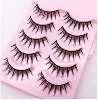 False Eyelashes Natural Long Makeup Cross Strip Black Eye Lashes 5pair