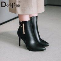 DorataSia 34 43 Nouvelle décoration de la mode Dames Mince High Heels Bottes Femmes pointues Toe Noir Bottines Bottes de cheville Noir Partie Sexy Chaussures Femme D8GA #