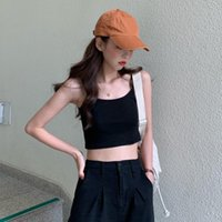 Women's Tanks & Camis Heart Trick Short Suspender High Waist Outer Vest Top Korean Version Slim In Summer Pure Color Base With Small Inside