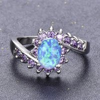 Wedding Rings Rainbow Crystal Purple Zircon Ring White Blue Opal Oval Stone Classic Silver Color Engagement For Women Gifts