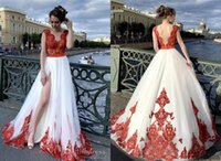 Fashion Red and White High Slit Prom Evening Dresses Formal Gowns 2022 V Backless Lace Applique Tulle Long Ruched Bridesmaid Cocktail Party Pageant Dresess