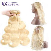Bundles de Beadu Diva 613 con 360 paquetes rubios de onda de la onda frontal con encaje frontal de paquetes de pelo virgen brasileño con cierre