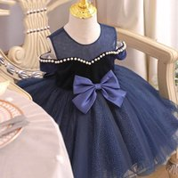 Girls Dresses Baby Clothes Pearl Kids Party Formal Dress Children Clothing Princess Birthday Lace Tutu Bows Costume B7623