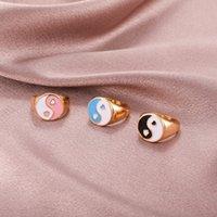 Высокое качество Yin Yang Tai Chi Chuunsy Кольца Женщины Мужчины Винтажные Капельные Масло Любовь Сердце Геометрические Сплетни Металлические Кольца Модные Ювелирные Изделия