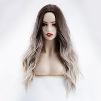 Synthetic Wigs 24 Inches Long Natural Wave Brown Ombre Hair Heat Resistant For Black Women