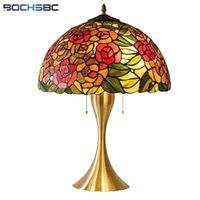 Table Lamps Tiffany Style Rose Bouquet Lamp Plum Blossom Blue Desk Light Gold Alloy Frame Stained Glass Home 3D Art Romance