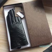 Мода роскошные дизайнерские перчатки мужские и женские кожаные перчатки женские овчины сенсорный экран зима утолщенные теплые перчатки из овчины