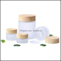 Office School Business & Industrialfrosted Glass Jar Cream Round Cosmetic Hand Face Packing Bottles 5G 10G 15G 30G 50G 100G Jars With Wood G