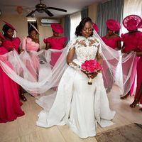Talla grande africana 2021 Vestidos de novia de satén con tren desmontable Cordón alto Cuello Apliqueado manga larga Sirena Vestidos nupciales Vestidos