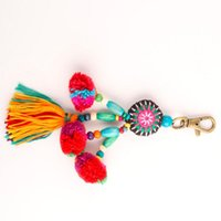 Schlüsselanhänger Mode POM TASSELS Keychain mit Holzperlen Schlüsselanhänger Pompom Schlüsselring DIY Quaste Ringe Frauen Schmuck QH6009
