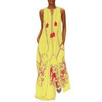 Summer Loose Sleeveless O-Neck Dress Women Fashion Printing Splice Pullover Female Maxi Beach Ladies