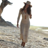 Fitshinling Bohemian knitted long dress beach hollow out sexy hot v neck pareos 2020 slim holiday maxi dresses women swimwear