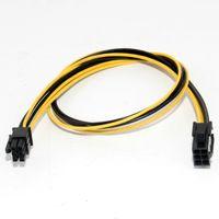 PCIe-Verlängerungsbandkabel 6Pin-männliches bis 6-Pin / 8pin-weibliches Netzkabel gelb und schwarzes Bandkabel 20 cm
