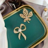Pimleri, Broşlar Moda Rhinestone Yay Ağacı Broş Vintage Zarif Düğün Parti Kakala Aksesuarları Zarif Gelin Dekorasyon Yaprakları