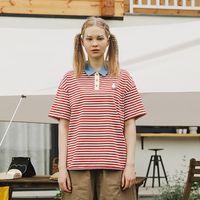 Kadın Polos Bebobsons Bayanlar Kırmızı Çizgili T-Shirt Turn-down Yaka Pamuk Üst Kadınlar Gevşek Tee Tshirt Kısa Kollu Yaz Gömlek