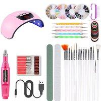 Kit de salon à ongles 45W UV LED Séchoir Lampe à ongles Electric Diamond Brosses de manucure (Rose Rouge)