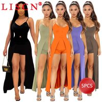 Women's Tracksuits 5pcs Bulk Items Wholesale Lots 2021 Women Two Piece Set Sexy Sling Split Long Top Shorts Casual Outfit Fashion Suit K7164