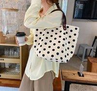 2021 primavera e verão nova moda casual francês retrô bolinhas mão carregado bolsa de lona lancheira mesa portátil balde saco feminino