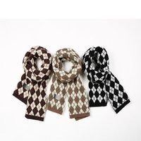 21 - New diamond plaid scarf, warm knitted wool scarf for lovers in 3 colors