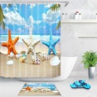 Mar Beach Curtain Curtain Starfish Shell Impresso Screen Screen Screen Duche Duche Cortinas Decoração Com Ganchos AHE4833