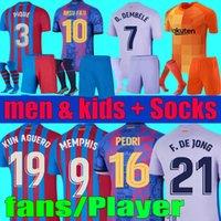 Camisetas de futebol Memphis Pedri Kun Aguero Barcelona Jersey 2021 2022 Barca fãs jogador 21 22 ANSU FATI GRIEZMANN F. DE JONG DES DESS KITS KIT CAMISETA conjuntos meias