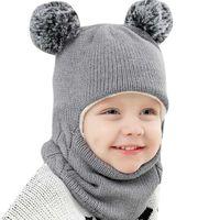 2021 Autumn Winter Children Hats Pom Ball Hat Kids Beani Cap Girls Boys Warm Wool Hooded Hat Baby Scarv Toddler Caps