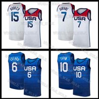 2021 Tokyo Olympiade Sommer USA Devin 15 Booker Basketball Jersey Staaten Kevin 7 Durant National Jayson 10 Tatum Damian United Lillard America White Away Home Team